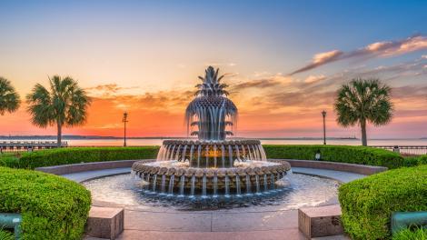 La célèbre Pineapple Fountain de Charleston, Caroline du Sud