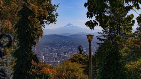 Vue sur le mont Hood et Portland, Oregon