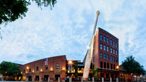 Exterior of the Louisville Slugger Museum & Factory in Kentucky