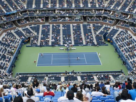 Vue sur le terrain du US Open de tennis