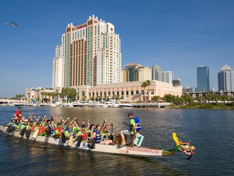 Racing dragon boats in Tampa, Florida