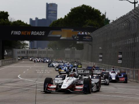 Grand Prix cars racing through Detroit
