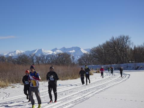 Des participants en plein effort lors de la course Rio Frio Ice Fest 5K à Alamosa, Colorado